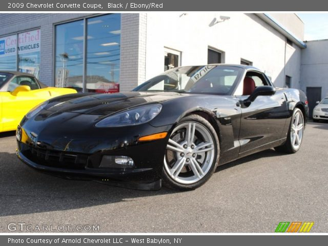 black 2009 chevrolet corvette coupe ebony red interior. Black Bedroom Furniture Sets. Home Design Ideas