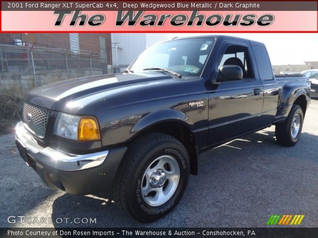deep wedgewood blue metallic 2001 ford ranger xlt supercab 4x4 dark graphite interior. Black Bedroom Furniture Sets. Home Design Ideas