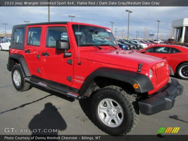 flame red 2010 jeep wrangler unlimited sport 4x4 dark slate gray medium slate gray interior. Black Bedroom Furniture Sets. Home Design Ideas