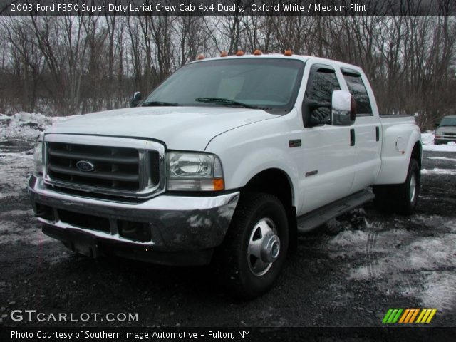 oxford white 2003 ford f350 super duty lariat crew cab 4x4 dually medium flint interior. Black Bedroom Furniture Sets. Home Design Ideas