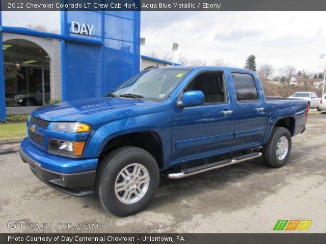 aqua blue metallic 2012 chevrolet colorado lt crew cab 4x4 ebony interior. Black Bedroom Furniture Sets. Home Design Ideas