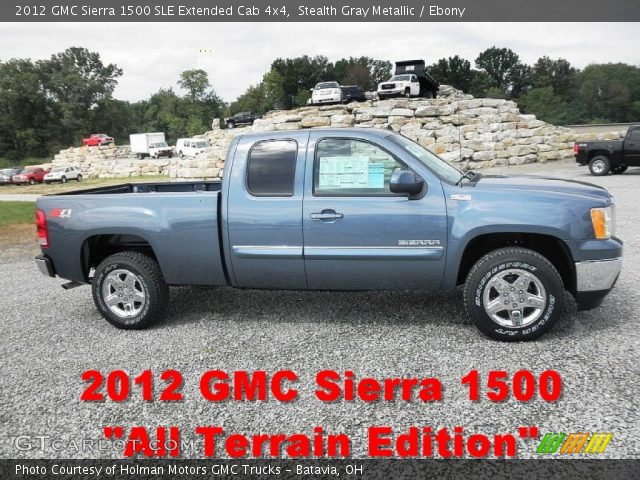 stealth gray metallic 2012 gmc sierra 1500 sle extended cab 4x4 ebony interior gtcarlot. Black Bedroom Furniture Sets. Home Design Ideas