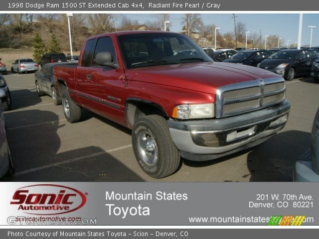 radiant fire pearl 1998 dodge ram 1500 st extended cab 4x4 gray interior. Black Bedroom Furniture Sets. Home Design Ideas