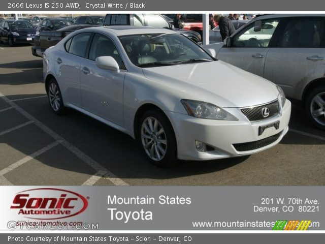 crystal white 2006 lexus is 250 awd black interior vehicle archive 61701733. Black Bedroom Furniture Sets. Home Design Ideas