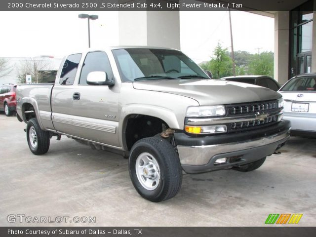 light pewter metallic 2000 chevrolet silverado 2500 ls extended cab 4x4 tan interior. Black Bedroom Furniture Sets. Home Design Ideas