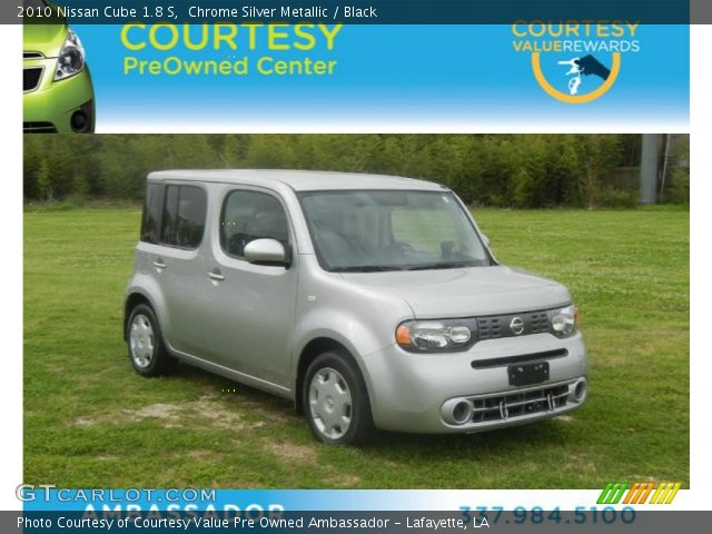 chrome silver metallic 2010 nissan cube 1 8 s black interior vehicle. Black Bedroom Furniture Sets. Home Design Ideas