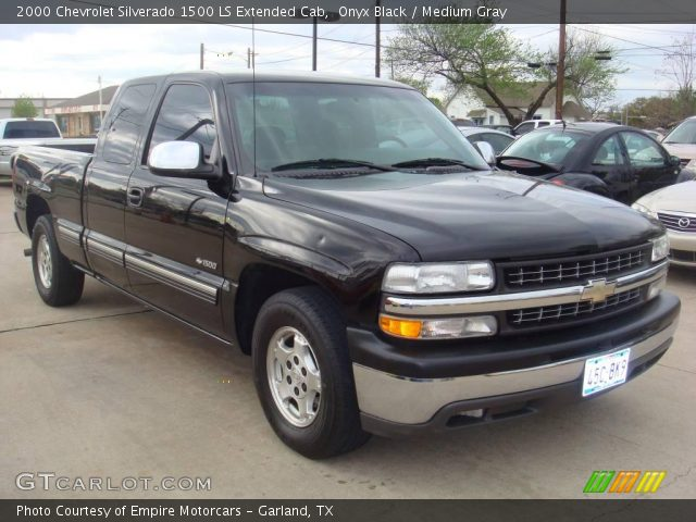 onyx black 2000 chevrolet silverado 1500 ls extended cab medium gray interior. Black Bedroom Furniture Sets. Home Design Ideas