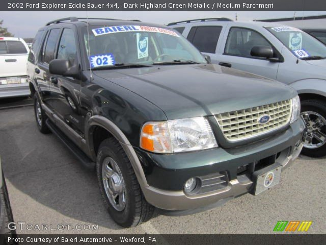 dark highland green metallic 2002 ford explorer eddie bauer 4x4 medium parchment interior. Black Bedroom Furniture Sets. Home Design Ideas
