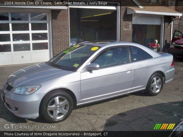 Satin Silver Metallic 2004 Honda Civic Ex Coupe Ivory Beige Interior