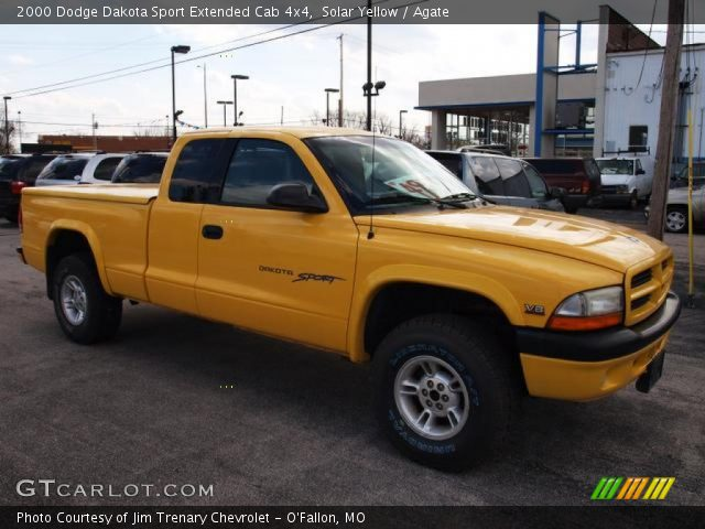 solar yellow 2000 dodge dakota sport extended cab 4x4 agate interior. Black Bedroom Furniture Sets. Home Design Ideas