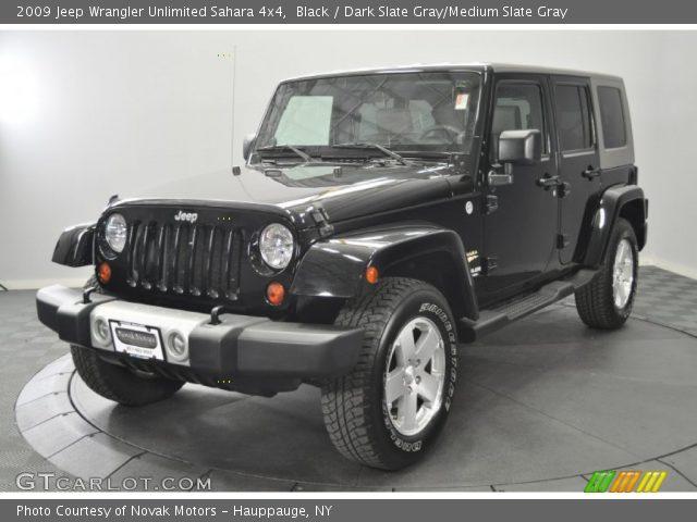 black 2009 jeep wrangler unlimited sahara 4x4 dark slate gray medium slate gray interior. Black Bedroom Furniture Sets. Home Design Ideas