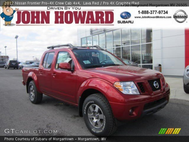 lava red 2012 nissan frontier pro 4x crew cab 4x4 pro. Black Bedroom Furniture Sets. Home Design Ideas