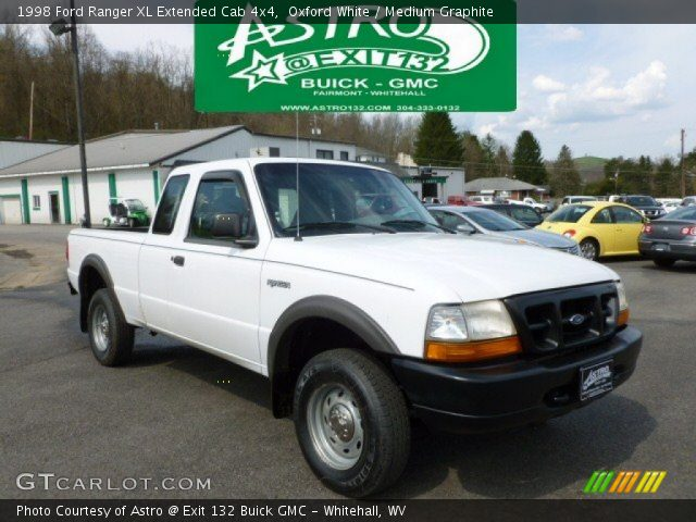 oxford white 1998 ford ranger xl extended cab 4x4 medium graphite interior. Black Bedroom Furniture Sets. Home Design Ideas