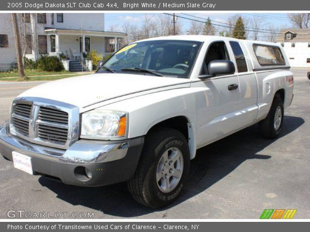 bright white 2005 dodge dakota slt club cab 4x4 medium slate gray interior. Black Bedroom Furniture Sets. Home Design Ideas