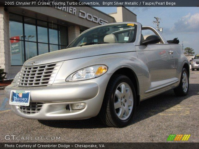 bright silver metallic 2005 chrysler pt cruiser touring turbo convertible taupe pearl beige. Black Bedroom Furniture Sets. Home Design Ideas