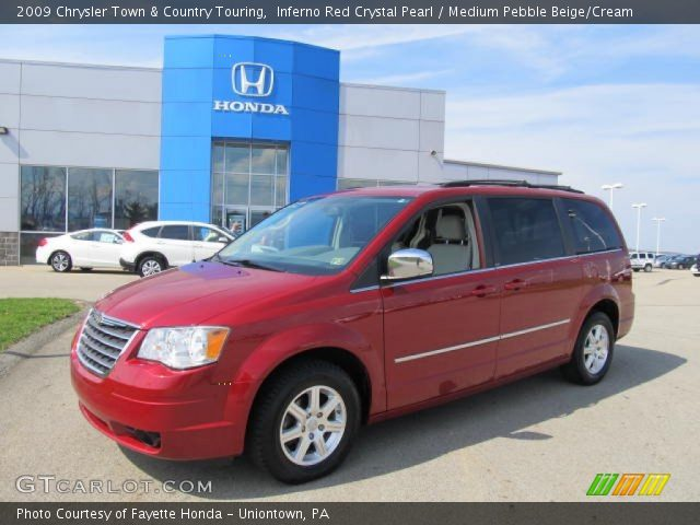 inferno red crystal pearl 2009 chrysler town country touring medium pebble beige cream. Black Bedroom Furniture Sets. Home Design Ideas