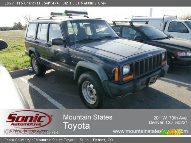 Lapis Blue Metallic 1997 Jeep Cherokee Sport 4x4 Grey Interior Vehicle