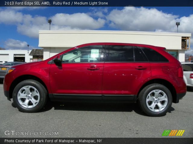 ruby red 2013 ford edge sel awd medium light stone interior vehicle archive. Black Bedroom Furniture Sets. Home Design Ideas