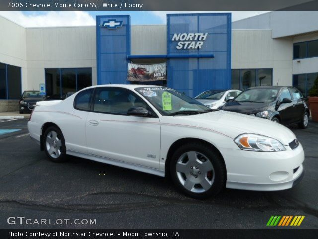 white 2006 chevrolet monte carlo ss ebony interior. Black Bedroom Furniture Sets. Home Design Ideas