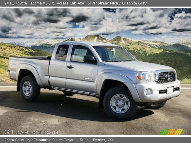 silver streak mica 2011 toyota tacoma v6 sr5 access cab 4x4 graphite gray interior. Black Bedroom Furniture Sets. Home Design Ideas