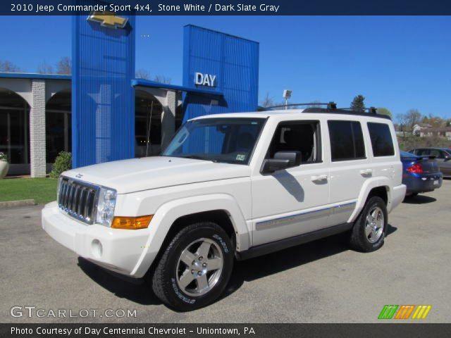 Stone White 2010 Jeep Commander Sport 4x4 Dark Slate Gray Interior Vehicle