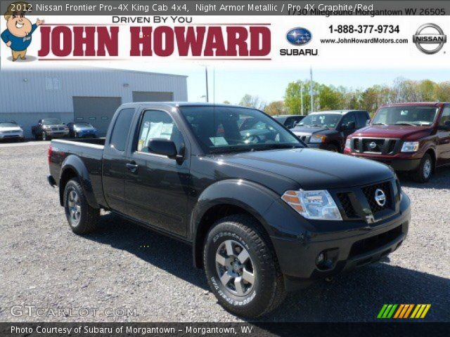 night armor metallic 2012 nissan frontier pro 4x king cab 4x4 pro 4x graphite red interior. Black Bedroom Furniture Sets. Home Design Ideas
