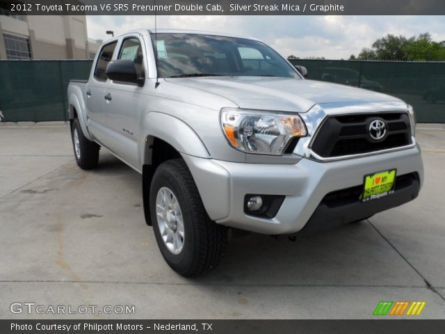 silver streak mica 2012 toyota tacoma v6 sr5 prerunner double cab graphite interior. Black Bedroom Furniture Sets. Home Design Ideas