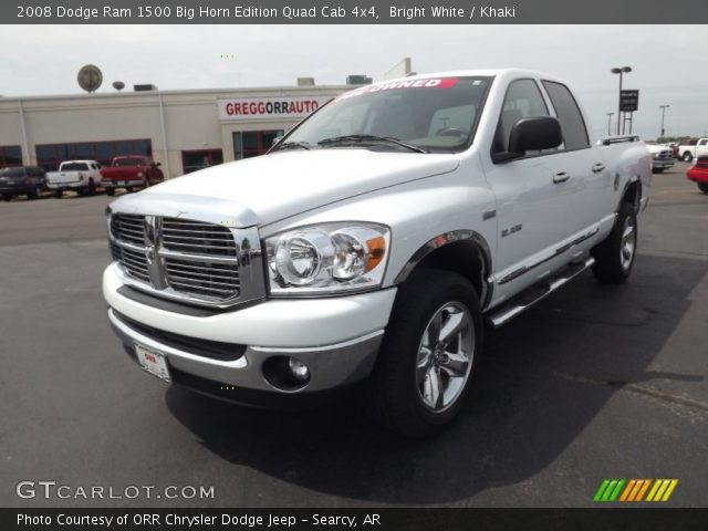 bright white 2008 dodge ram 1500 big horn edition quad cab 4x4 khaki interior. Black Bedroom Furniture Sets. Home Design Ideas