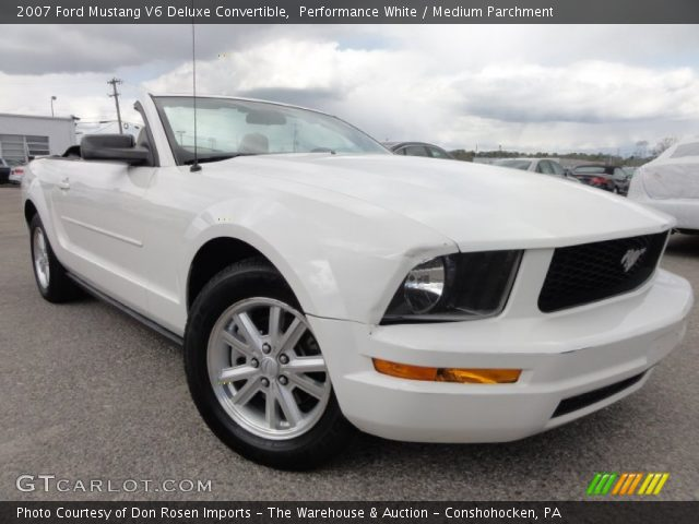 performance white 2007 ford mustang v6 deluxe convertible medium parchment interior. Black Bedroom Furniture Sets. Home Design Ideas