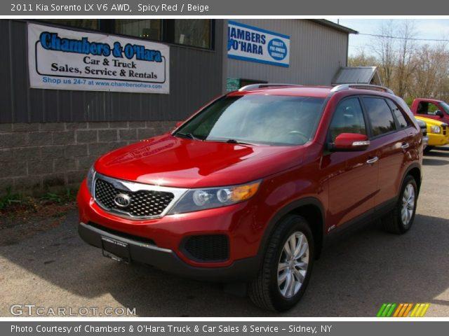 spicy red 2011 kia sorento lx v6 awd beige interior vehicle archive 63978059. Black Bedroom Furniture Sets. Home Design Ideas