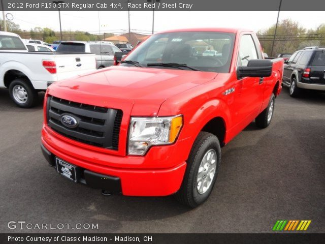 race red 2012 ford f150 stx regular cab 4x4 steel gray interior vehicle. Black Bedroom Furniture Sets. Home Design Ideas