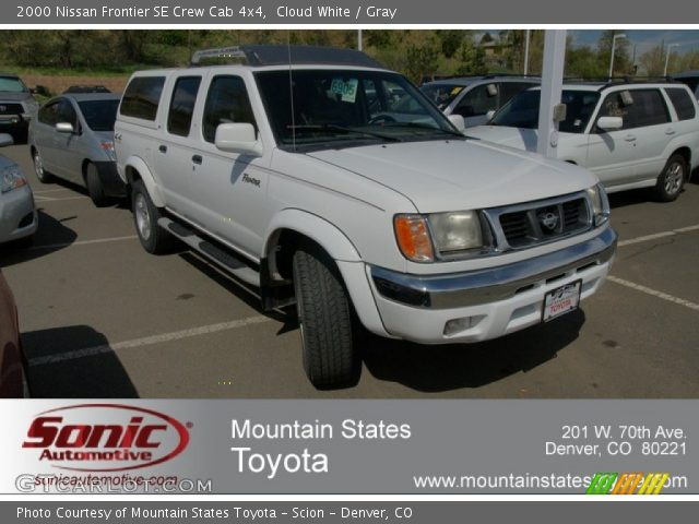 cloud white 2000 nissan frontier se crew cab 4x4 gray interior vehicle. Black Bedroom Furniture Sets. Home Design Ideas