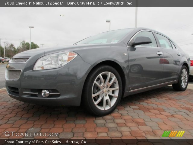 dark gray metallic 2008 chevrolet malibu ltz sedan ebony brick red interior. Black Bedroom Furniture Sets. Home Design Ideas