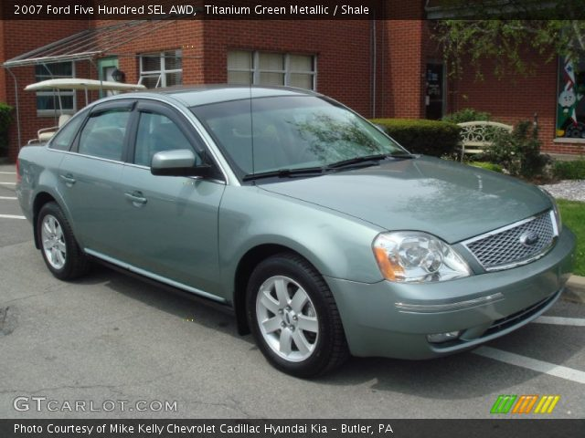 titanium green metallic 2007 ford five hundred sel awd shale interior. Black Bedroom Furniture Sets. Home Design Ideas