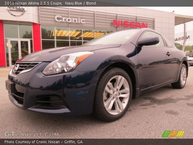 navy blue 2010 nissan altima 2 5 s coupe blond interior vehicle archive. Black Bedroom Furniture Sets. Home Design Ideas