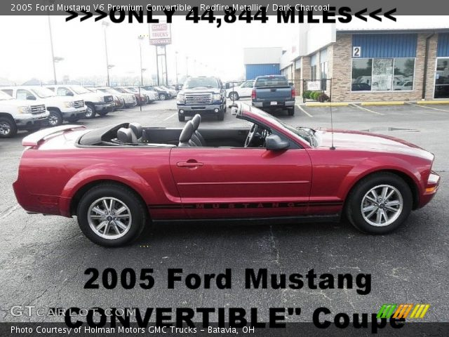 Redfire Metallic 2005 Ford Mustang V6 Premium Convertible Dark Charcoal Interior Gtcarlot