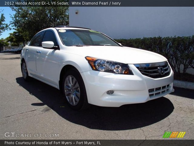 white diamond pearl 2012 honda accord ex l v6 sedan ivory interior vehicle. Black Bedroom Furniture Sets. Home Design Ideas