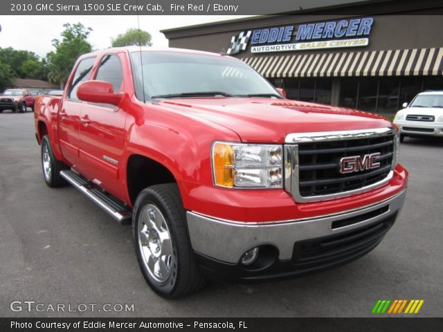 fire red 2010 gmc sierra 1500 sle crew cab ebony interior vehicle archive. Black Bedroom Furniture Sets. Home Design Ideas