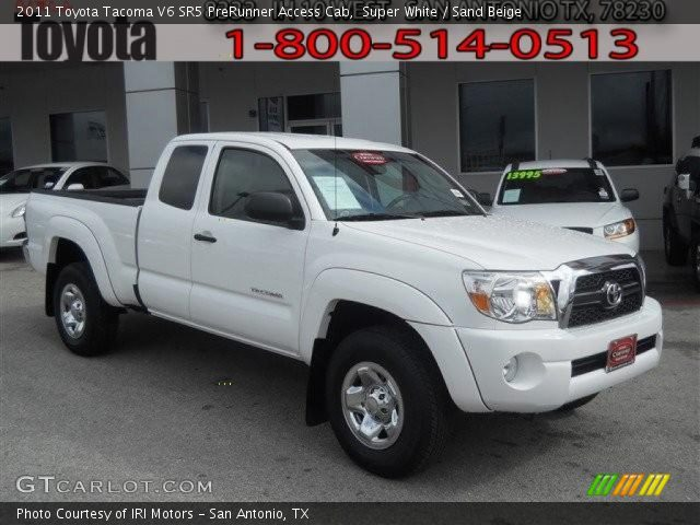 super white 2011 toyota tacoma v6 sr5 prerunner access cab sand beige interior gtcarlot. Black Bedroom Furniture Sets. Home Design Ideas