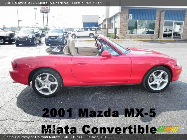 classic red 2001 mazda mx 5 miata ls roadster tan interior vehicle archive. Black Bedroom Furniture Sets. Home Design Ideas