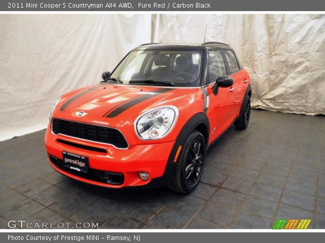 pure red 2011 mini cooper s countryman all4 awd carbon black interior. Black Bedroom Furniture Sets. Home Design Ideas