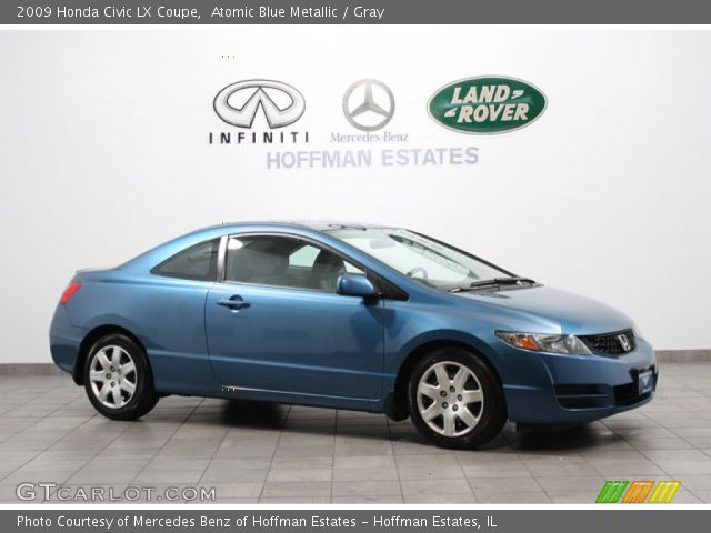 atomic blue metallic 2009 honda civic lx coupe gray interior vehicle. Black Bedroom Furniture Sets. Home Design Ideas