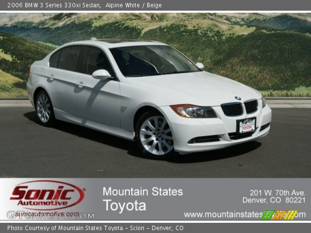 alpine white 2006 bmw 3 series 330xi sedan beige interior vehicle archive. Black Bedroom Furniture Sets. Home Design Ideas