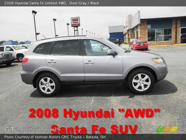 steel gray 2008 hyundai santa fe limited 4wd black interior vehicle archive. Black Bedroom Furniture Sets. Home Design Ideas