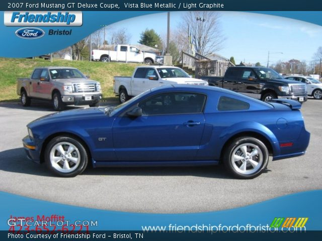 vista blue metallic 2007 ford mustang gt deluxe coupe light graphite interior. Black Bedroom Furniture Sets. Home Design Ideas