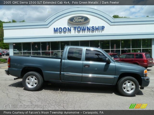 polo green metallic 2005 gmc sierra 1500 slt extended cab 4x4 dark pewter interior. Black Bedroom Furniture Sets. Home Design Ideas