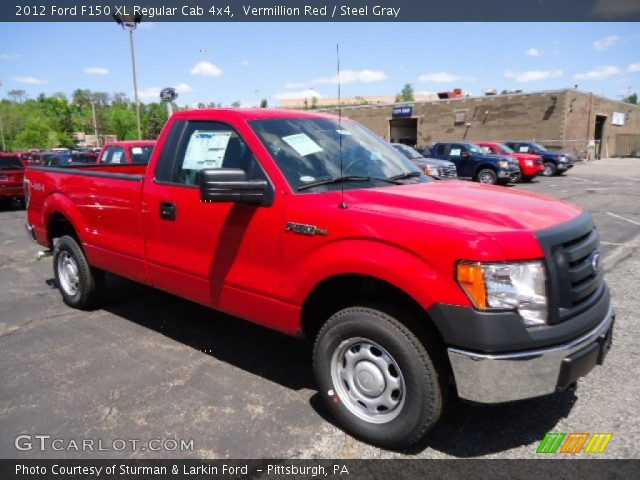 vermillion red 2012 ford f150 xl regular cab 4x4 steel gray interior. Black Bedroom Furniture Sets. Home Design Ideas