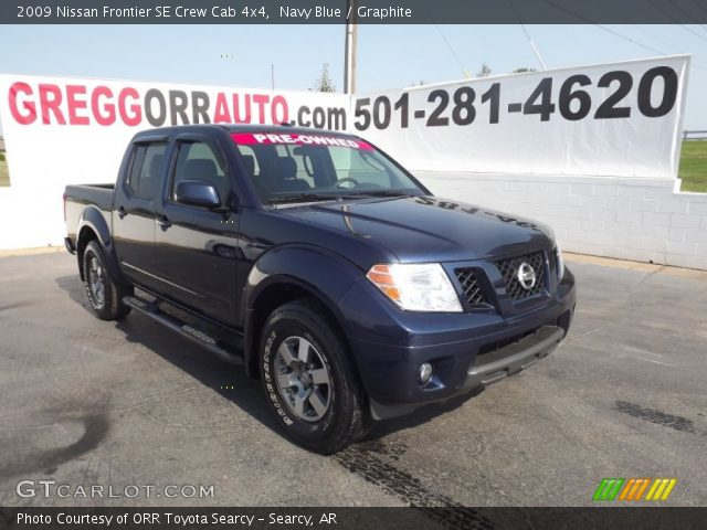 navy blue 2009 nissan frontier se crew cab 4x4 graphite interior vehicle. Black Bedroom Furniture Sets. Home Design Ideas