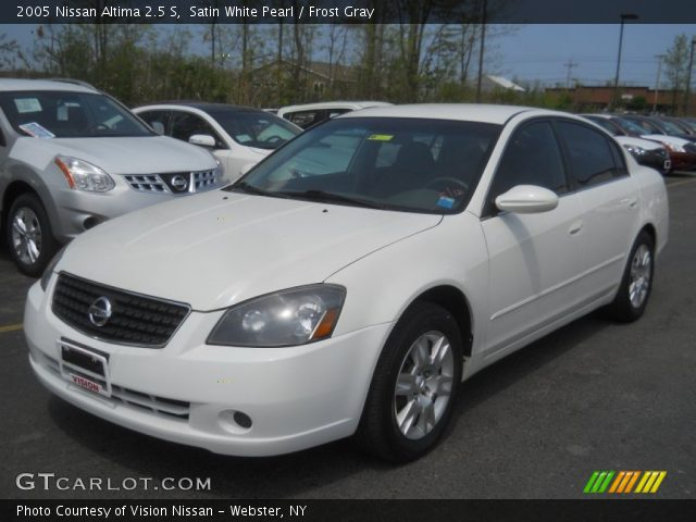 Satin White Pearl 2005 Nissan Altima 25 S Frost Gray Interior