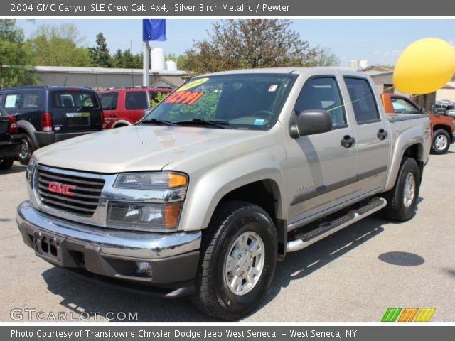 silver birch metallic 2004 gmc canyon sle crew cab 4x4 pewter interior. Black Bedroom Furniture Sets. Home Design Ideas